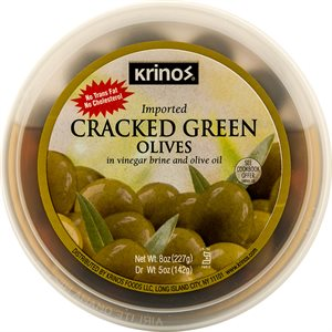 KRINOS Cracked Green Olives 8oz
