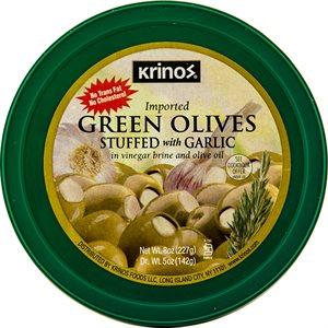 KRINOS Green Olives stuffed with garlic 8oz