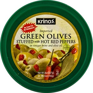 KRINOS Green Olives stuffed with hot red peppers 8oz