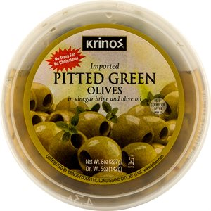 KRINOS Pitted Green Olives 32oz