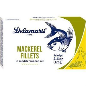 DELAMARIS Mackerel Fillets in Mediterranean Oil 125g